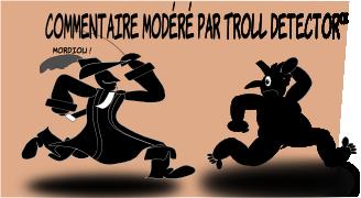 Gascogne, en robe, avec un chapeau à panache de mousquetaire, des bottes de cavalerie aux pieds et une rapière à la main, poursuit galamment un Troll terrifié qui prend la fuite. Gascogne lâche un « mordiou » face à la lâcheté du troll.