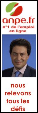 Logo de l'ANPE, avec le slogan 'nous relevons tous les défis' sous une photo de Georges Fenech